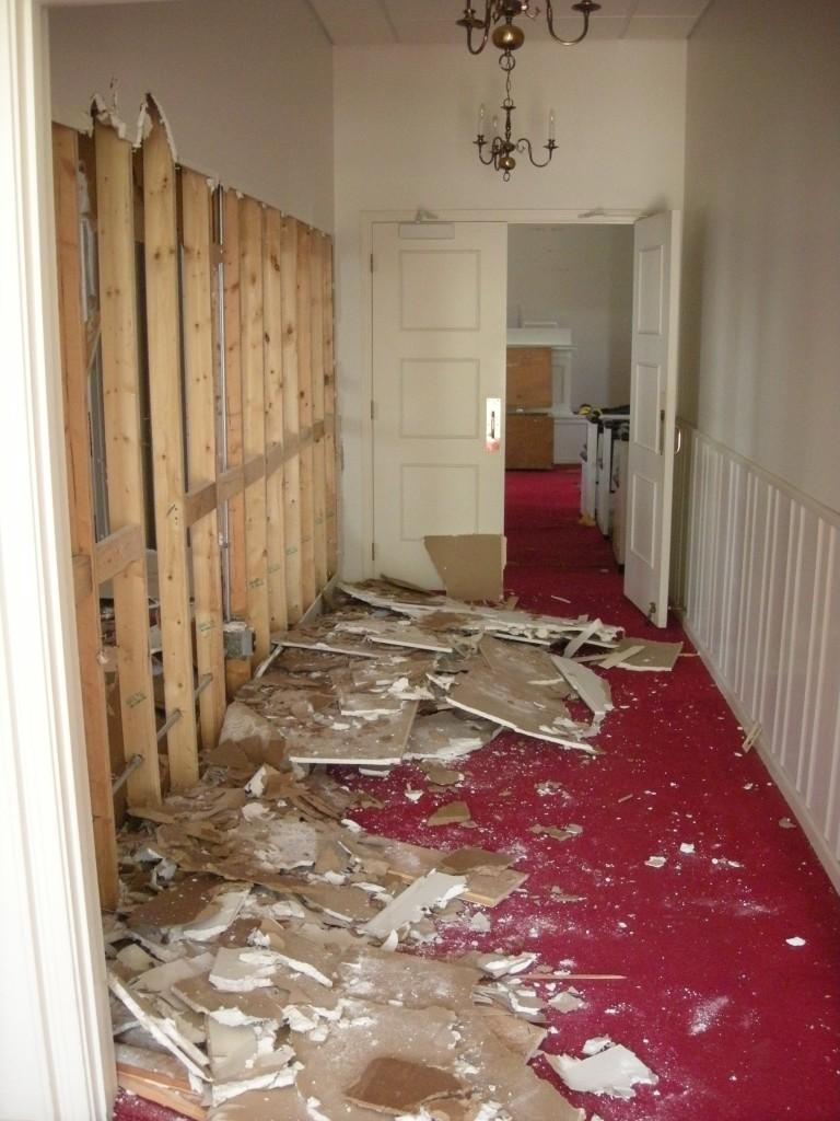 hall wall coming down